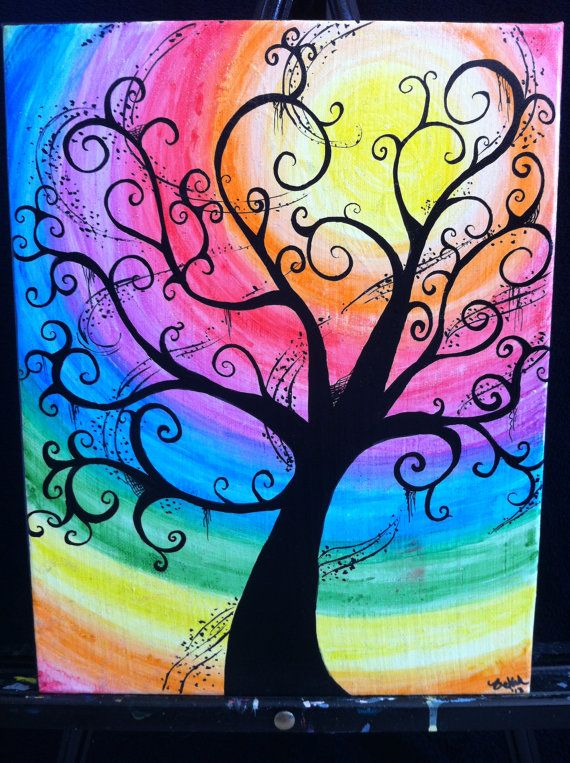 Creepy swirly rainbow tree11x14 water color canvas by for Back painting ideas easy
