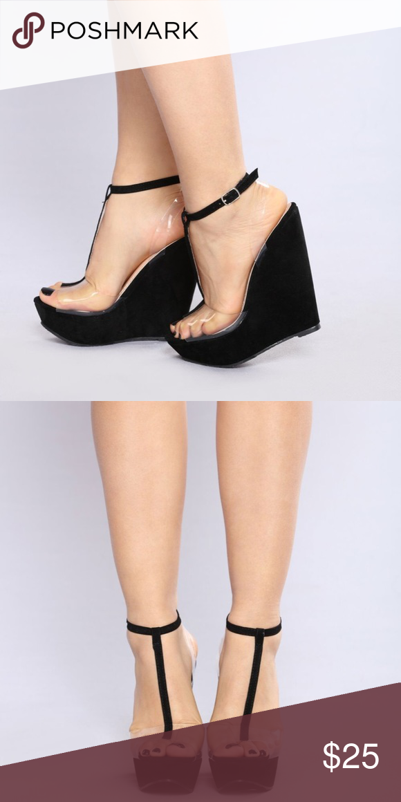 b959b710ab6 Edge Between us wedge Black and Clear never worn wedge heels Fashion Nova  Shoes Wedges