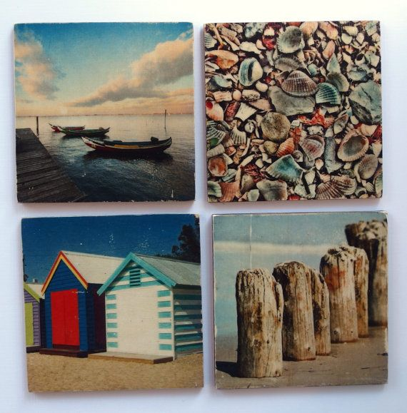 Beach Wood Coasters For Drinks Beverage Australian Travel Ocean Photos Coastal Gifts Gift Set Of 4
