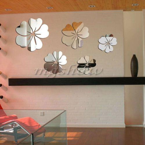 Fashion Silver Acrylic Mirror Effect Wall Sticker Home Decor Removable Art