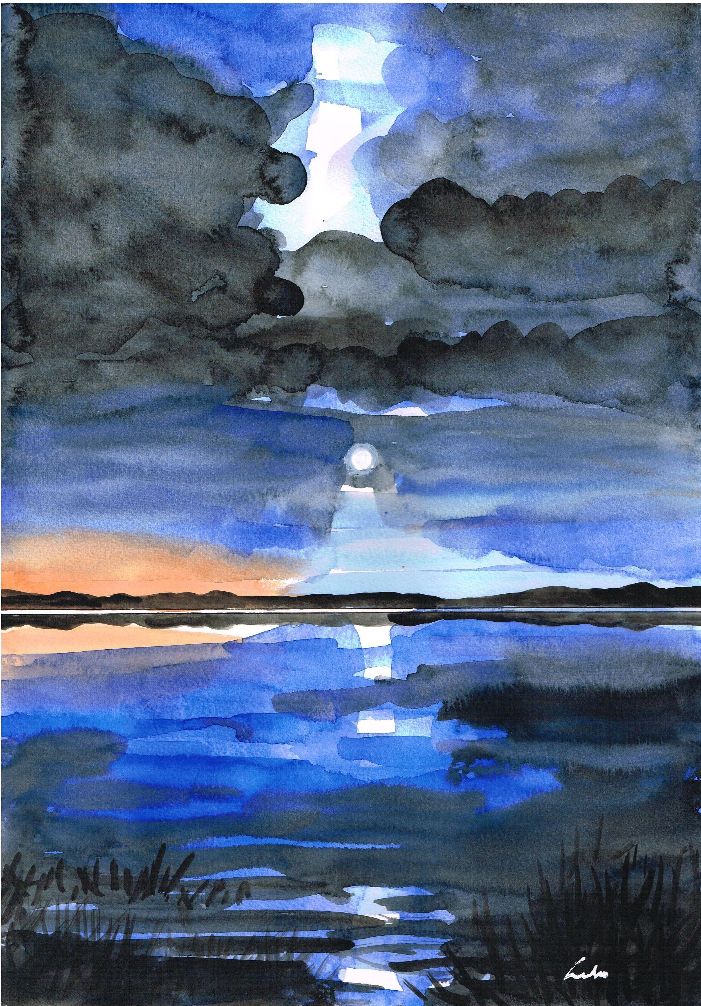 Anoitecer Na Lagoa Aquarela Anoitecer