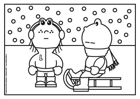 frokkie en lola in de sneeuw op de slee winter kleurplaat