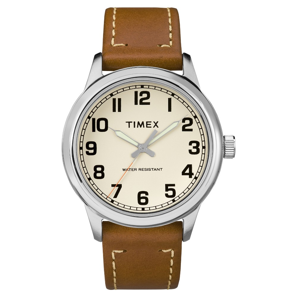 0907c3034bfd Men s Timex Watch with Leather Strap - Silver Tan TW2R22700JT