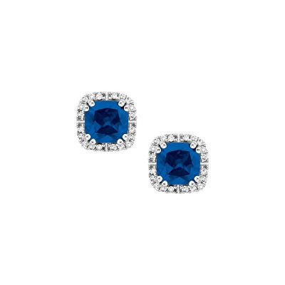 Jewelry Created Sapphire And 1 10 Ct Tw Diamond Birthstone Earrings In 10k White Gold Birthstone Earring Diamond Birthstone Sapphire Earrings