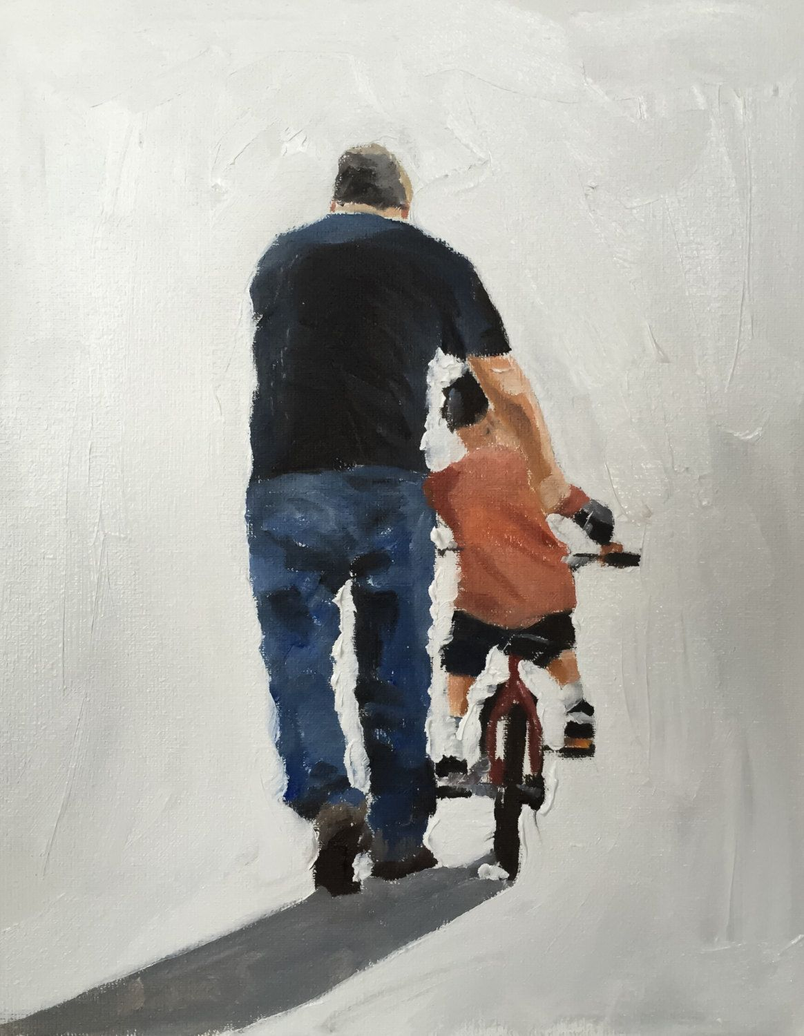 Father and son cycling art print from by jamescoatesfineart