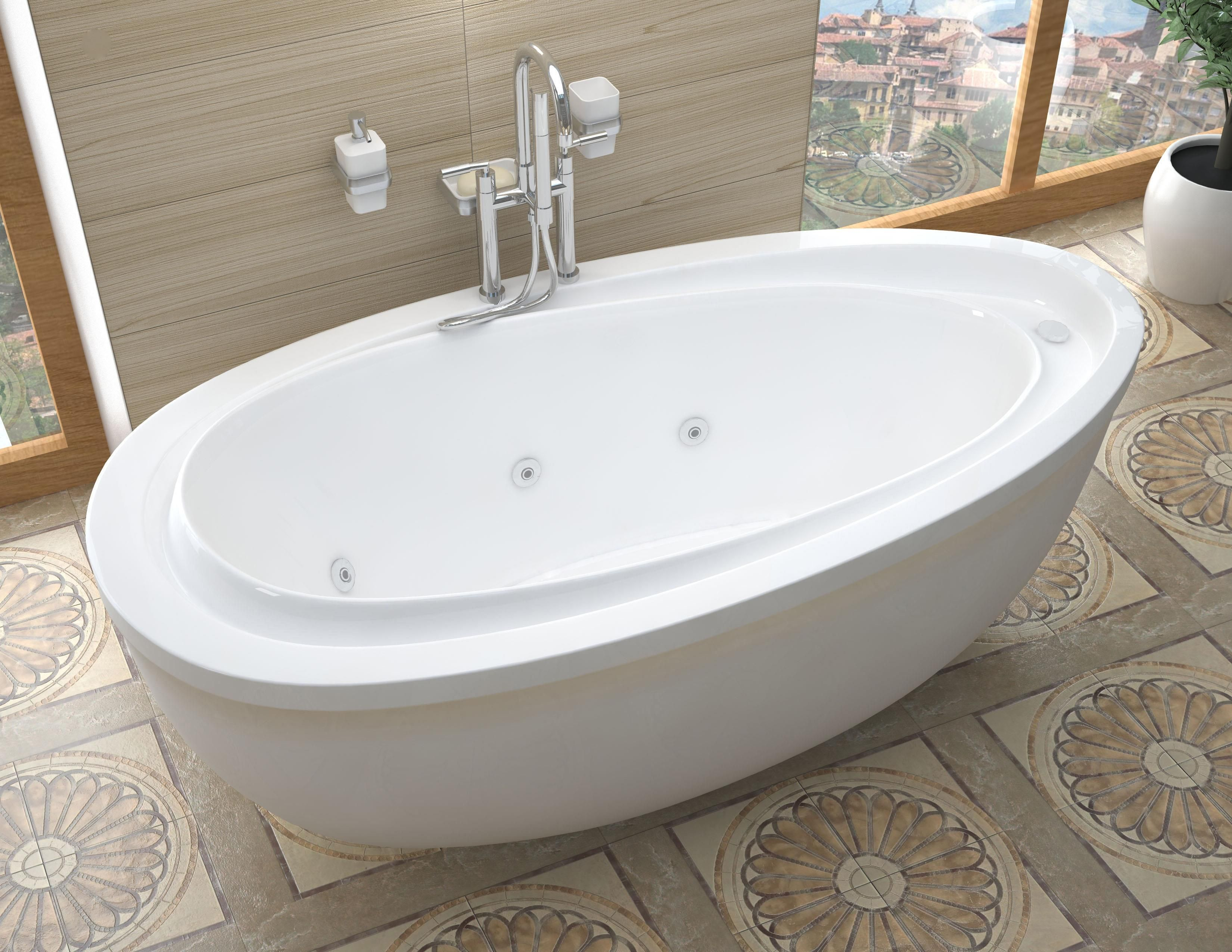Venzi Tullia 38 x 71 x 20 Oval Freestanding Whirlpool Jetted Bathtub ...
