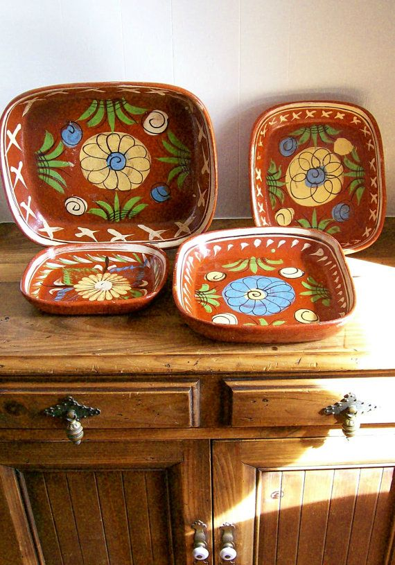 Vintage Mexican Pottery Patio Serving Ware By Aletafordbakerdesign 50 00 Mexican Pottery