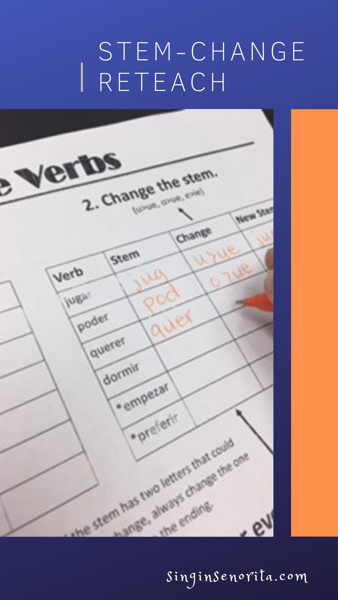 Stem Change Reteach Resources Verbs Lessons Verbs Activities Reteaching [ 1920 x 1080 Pixel ]
