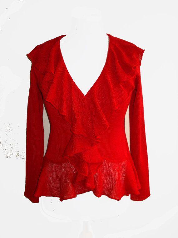 women's linen blazer, red, knitted, linen cardigan, elegant, linen, linen clothes, eco linen, knitwear, SALE, crochet, linen knit, organic