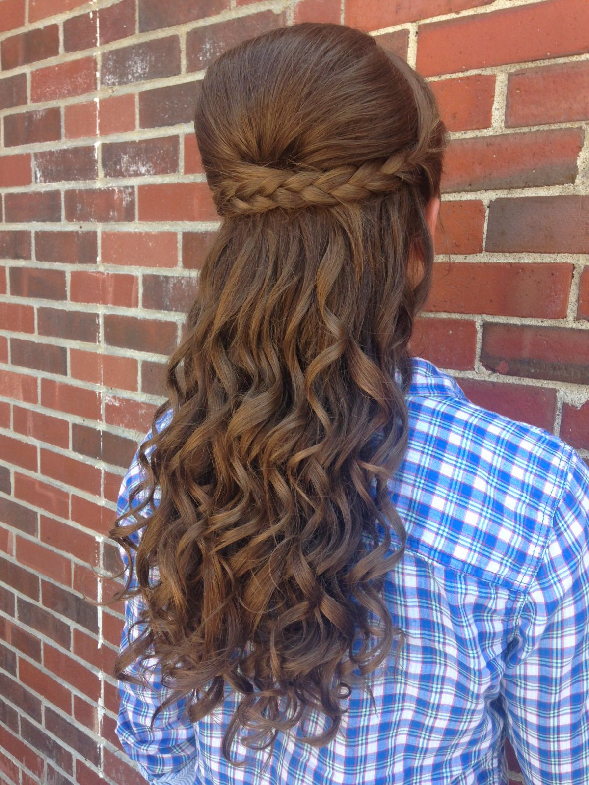 Prom hair half up half down curly braided bump romantic updo
