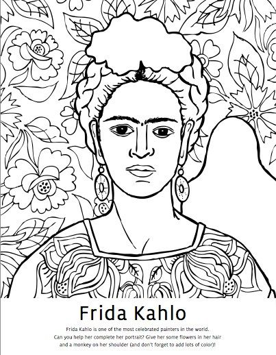 Diego Rivera Coloring Pages & Frida Kahlo Coloring Pages | Embroidery