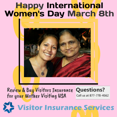 Buy VisitorInsurance for your mother visiting USA on