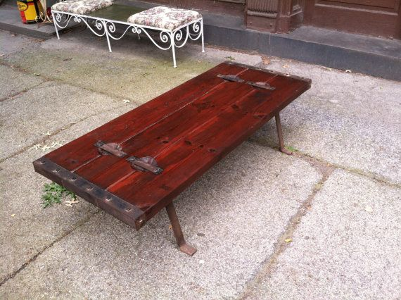 Circa 1940 39 s cargo ship hatch door coffee table with cast for Coffee table with cast iron legs