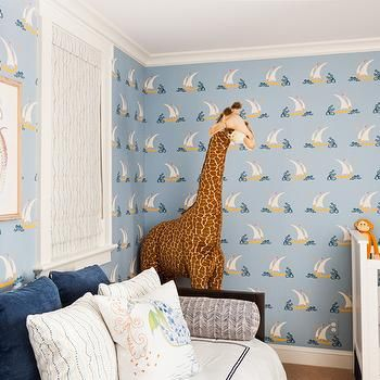 Blue Nautical Nursery with Sailboat Wallpaper