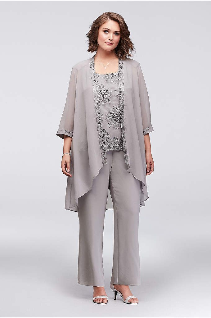 Long Lace Jacket Three-Piece Pantsuit Style 1993, Champagne, 14