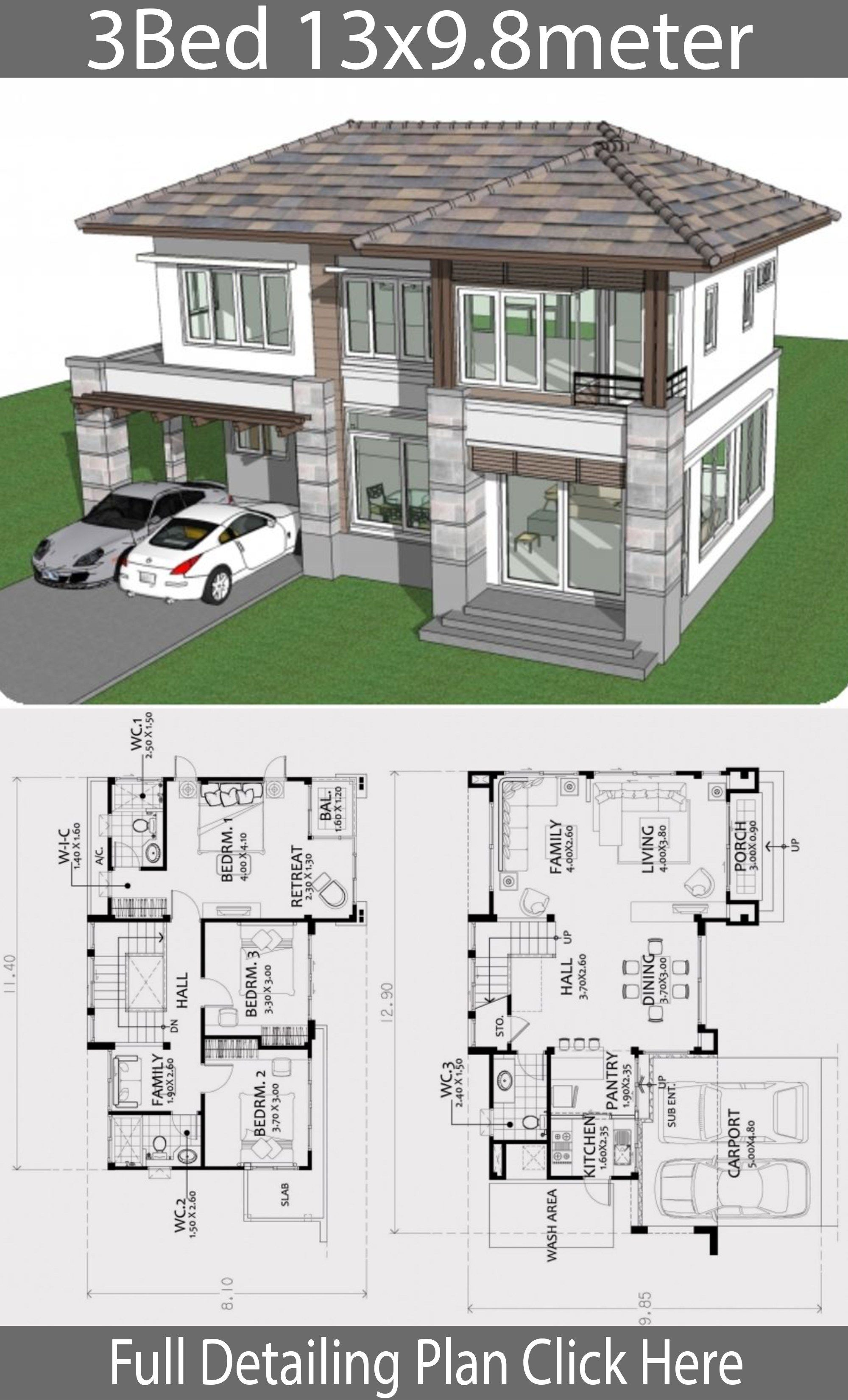 Home Design Plan 13x9 8m With 3 Bedrooms House Layout Plans