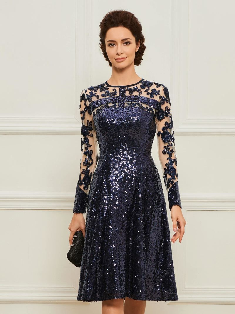 Knee-Length Mother of the Bride Dress with Long Sleeve ...