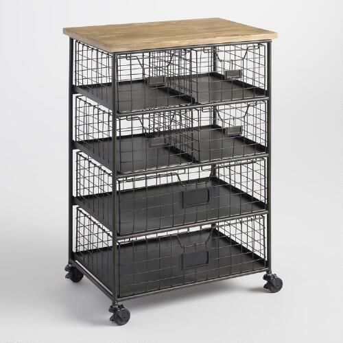 A Smaller Storage Option For Baby Essentials That You Can More Around Wherever Need It Metal And Wood 6 Drawer Garrett Rolling Cart