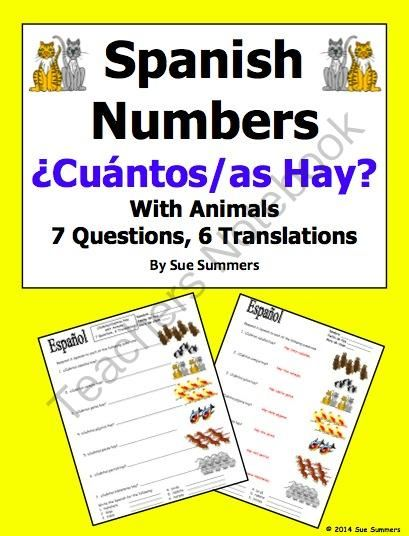 Spanish Cuantos Hay with Numbers and Animals Worksheet | Spanish ...