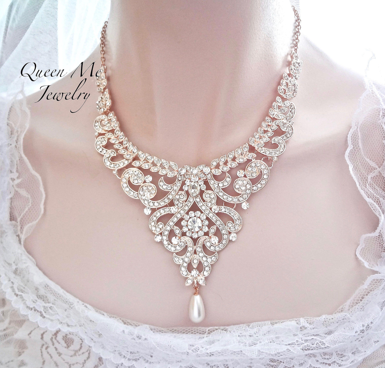 Rose gold Wedding necklace Blush Wedding Jewelry For a bride Crystal Statement necklace Bridal Boho chic Wedding Jewelry MIA