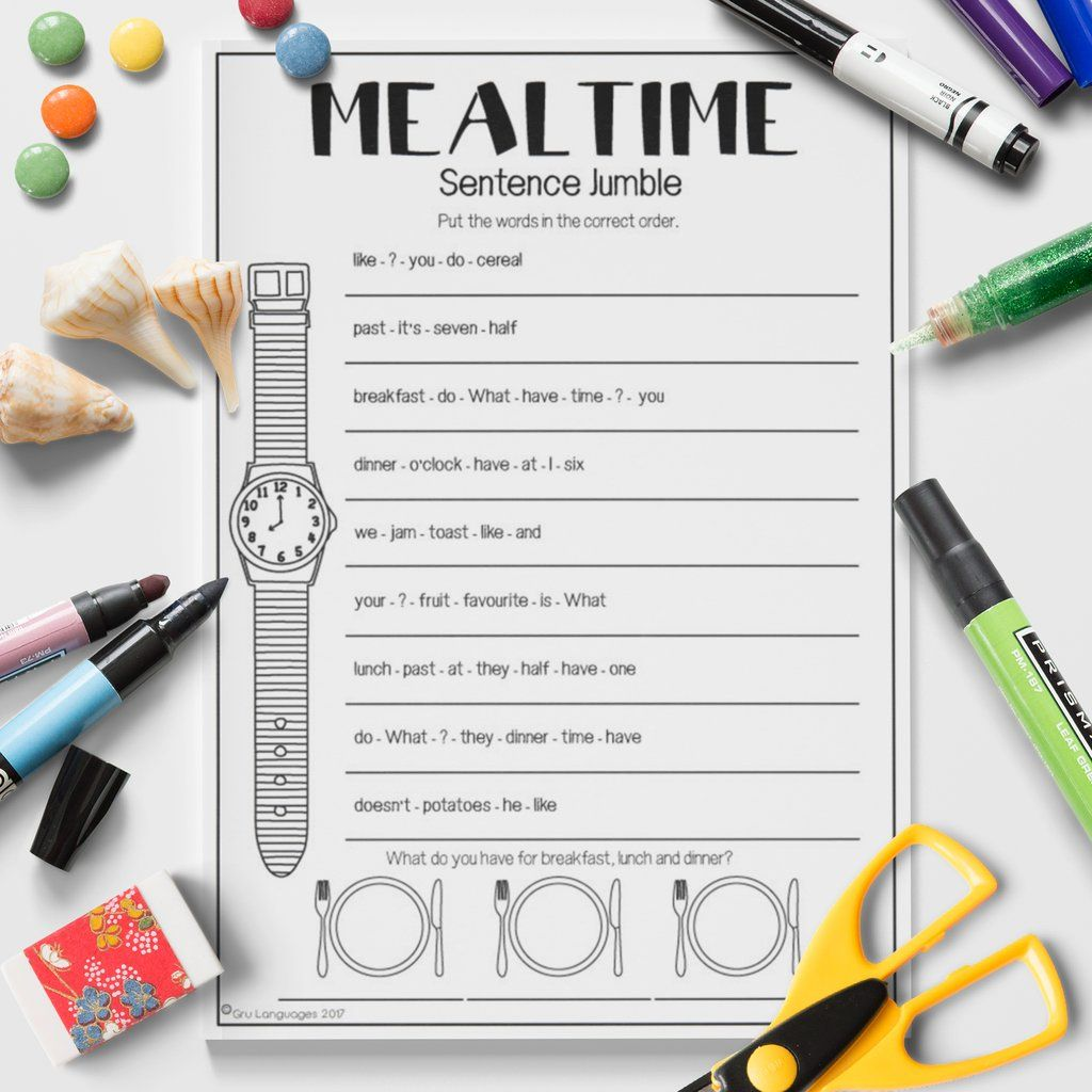 Esl Kids Mealtime Sentence Jumble Activity Worksheet Esl