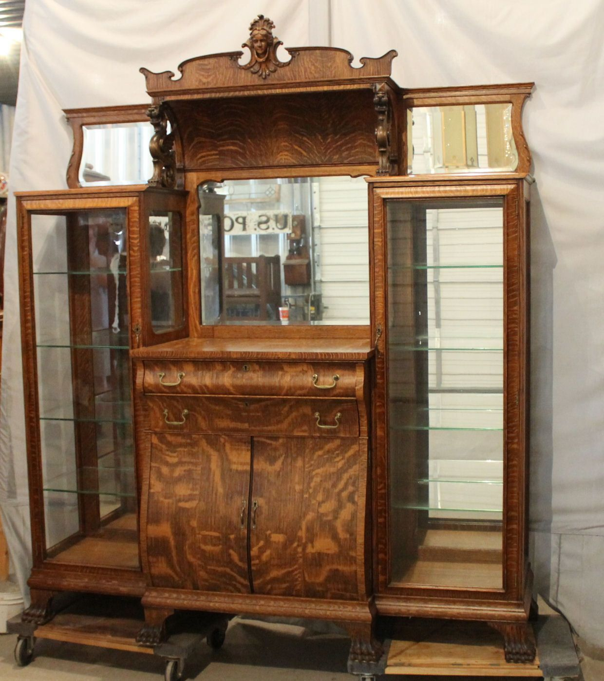 Antique Oak Double China Curio And Buffet Combination Cabinet