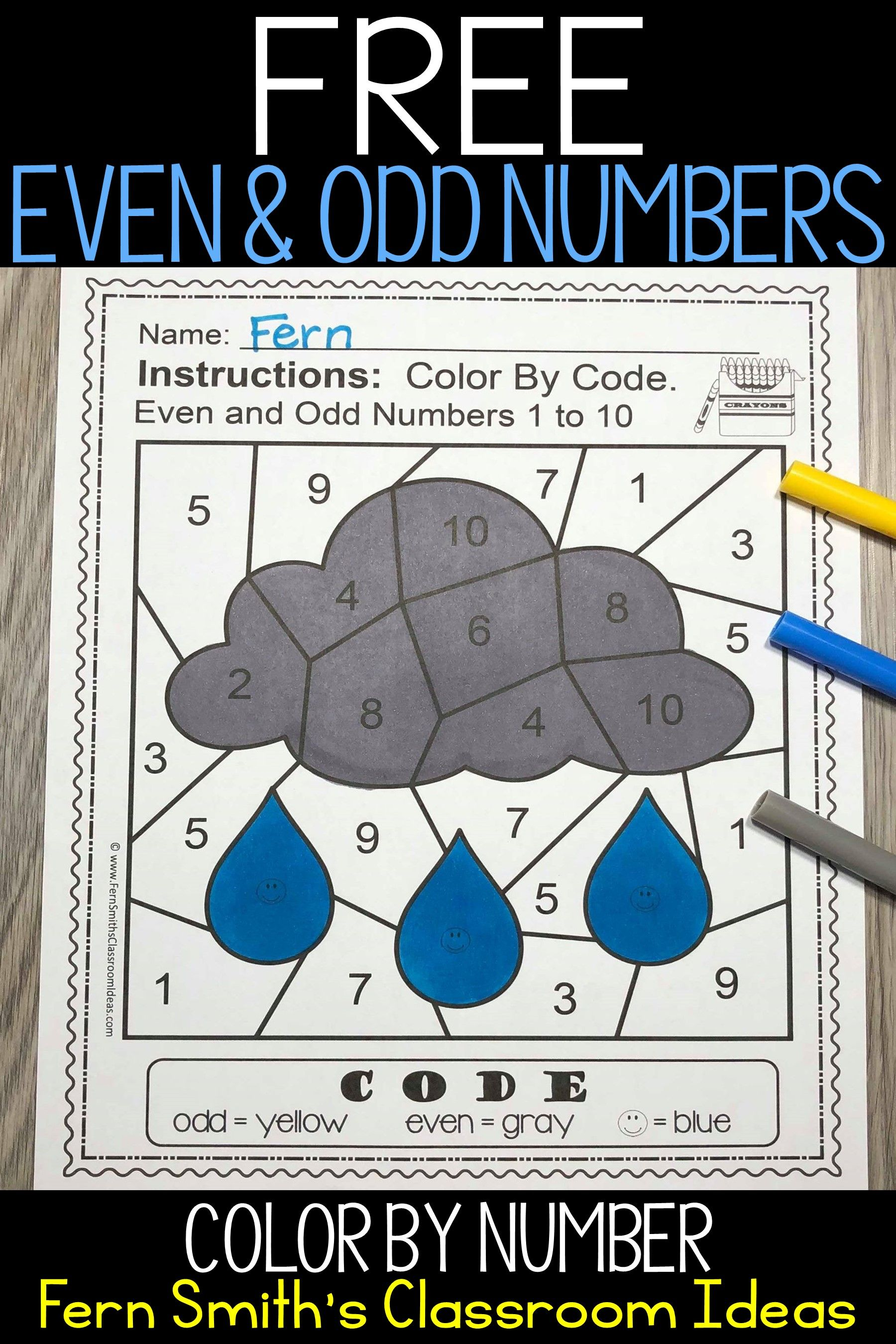 Even And Odd Numbers Color By Number Freebie In