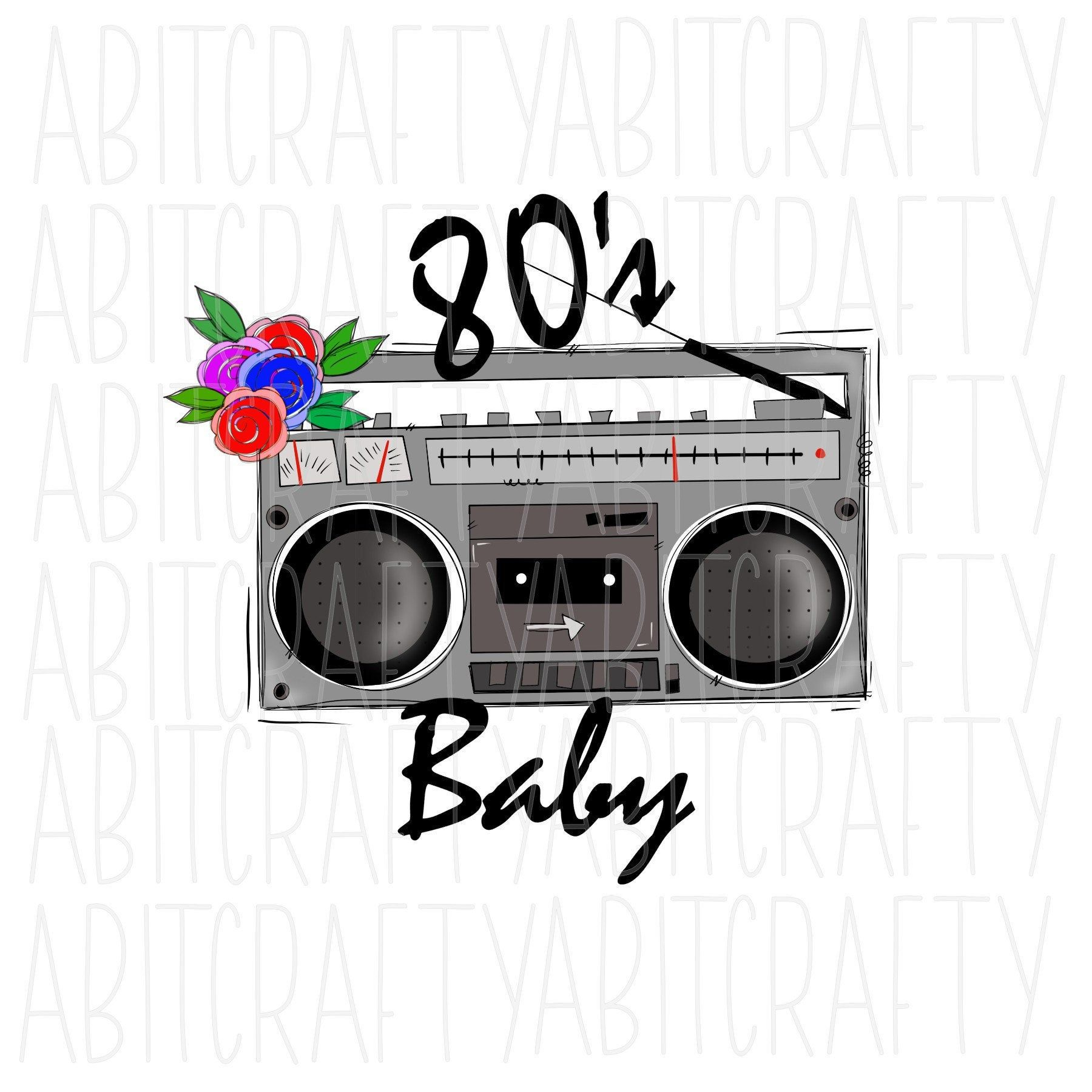 80 S Baby 1980s Vintage Boombox Png Sublimation Digital Etsy Boombox How To Draw Hands Png