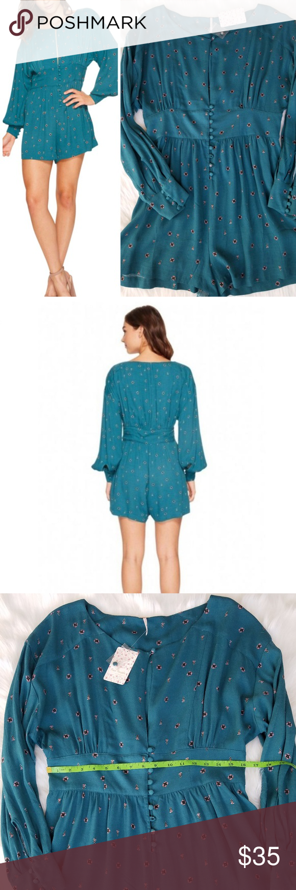 23e45bc1000 Free People NWT Love Grows Long Sleeve L Romper Free People OB652803 Green  Combo Love Grows