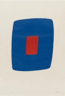 DARK BLUE WITH RED, By Ellsworth Kelly Artwork Description Dimensions: 35 1/4 by 23 1/2 in Medium: lithographs printed in colors Creation Date: 1964 Signed Edition number: artist's proof 57/75