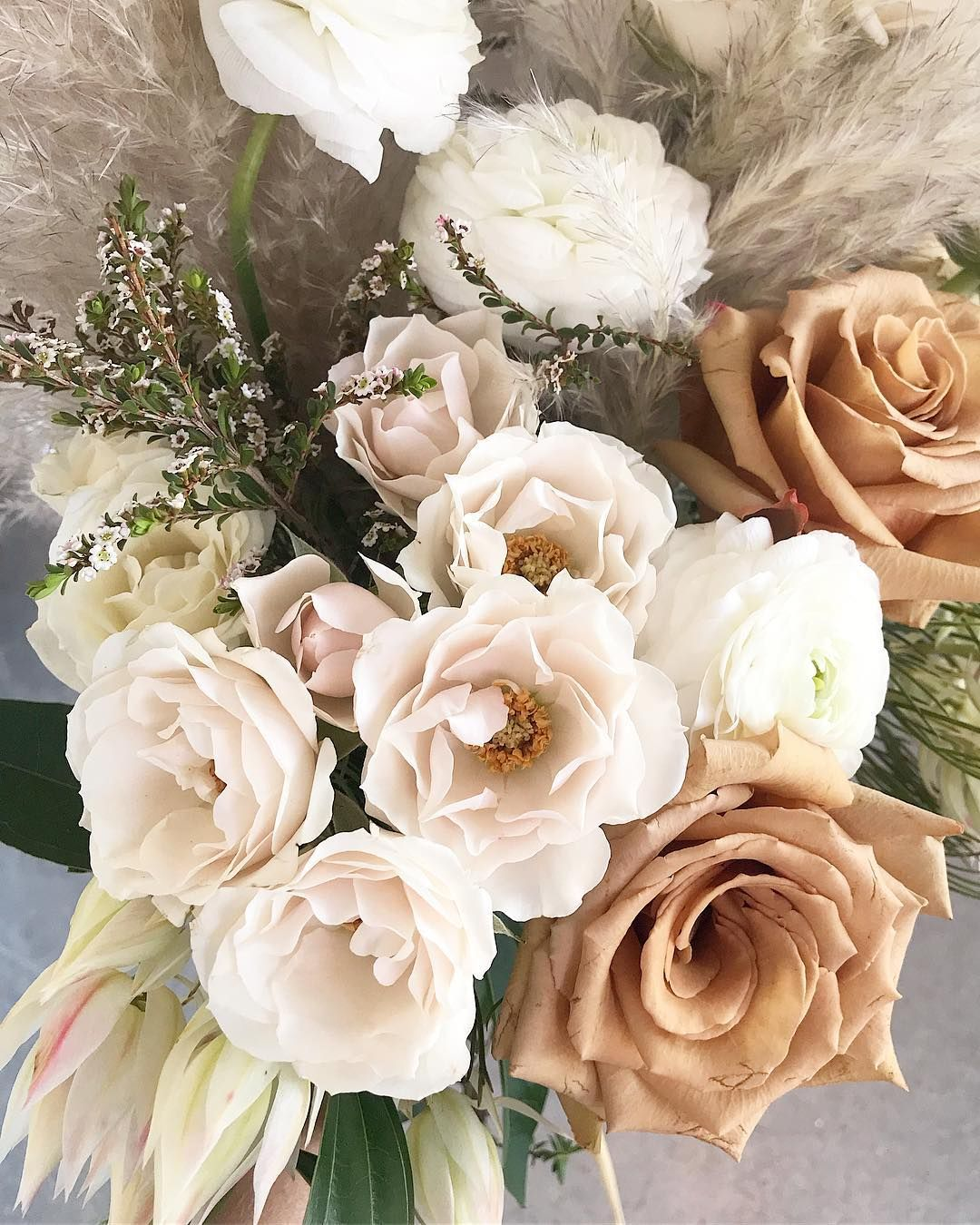 neutral muted colour wedding bouquet created by amborella
