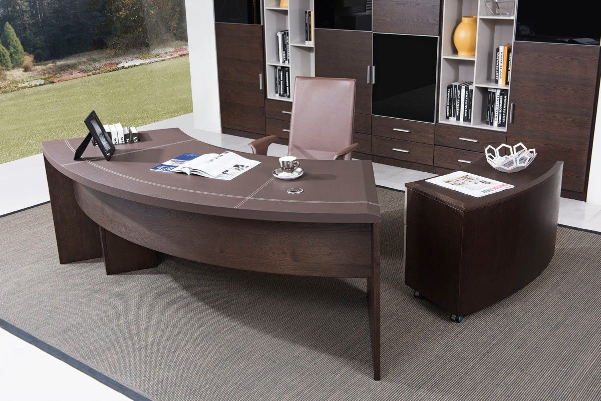 Modrest Highland Modern Brown Oak Office Desk W Cabinet Office Furniture Modern Executive Office Desk Office Furniture Uk