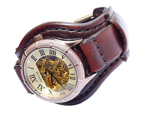 leon / Vintage hodinky pánske tmavohnedé