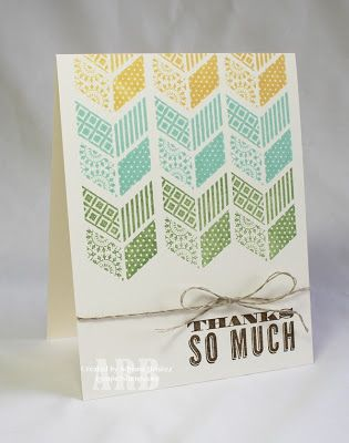 Supply details:  Stamps: Oh, Hello Colors: Very Vanilla, So Saffron, Pool Party, Wild Wasabi, Soft Suede Tools: Stamp-a-ma-jig Embellishments: Linen Thread