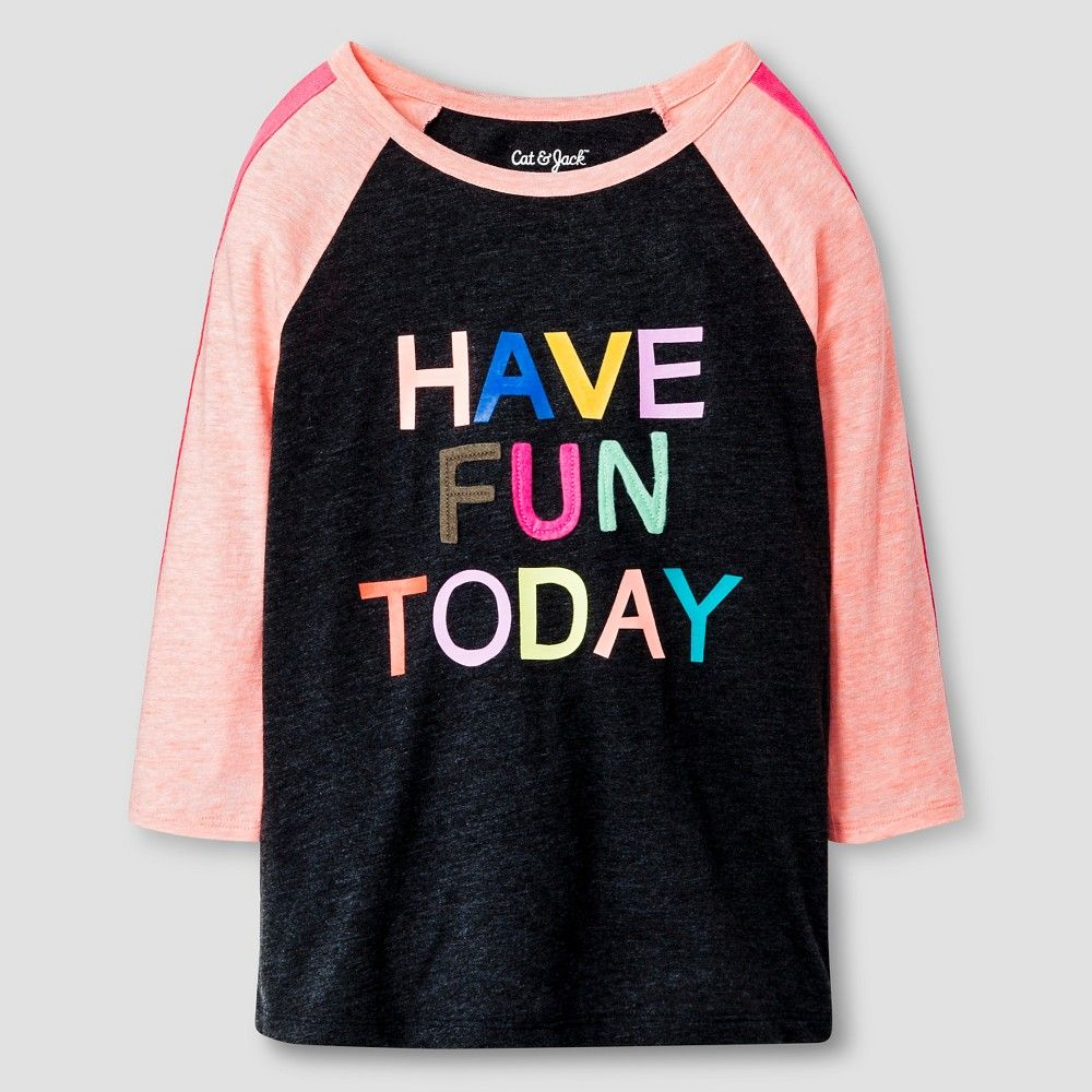 Girls' 3/4 Length Sleeve Tee Cat & Jack - Have Fun Today