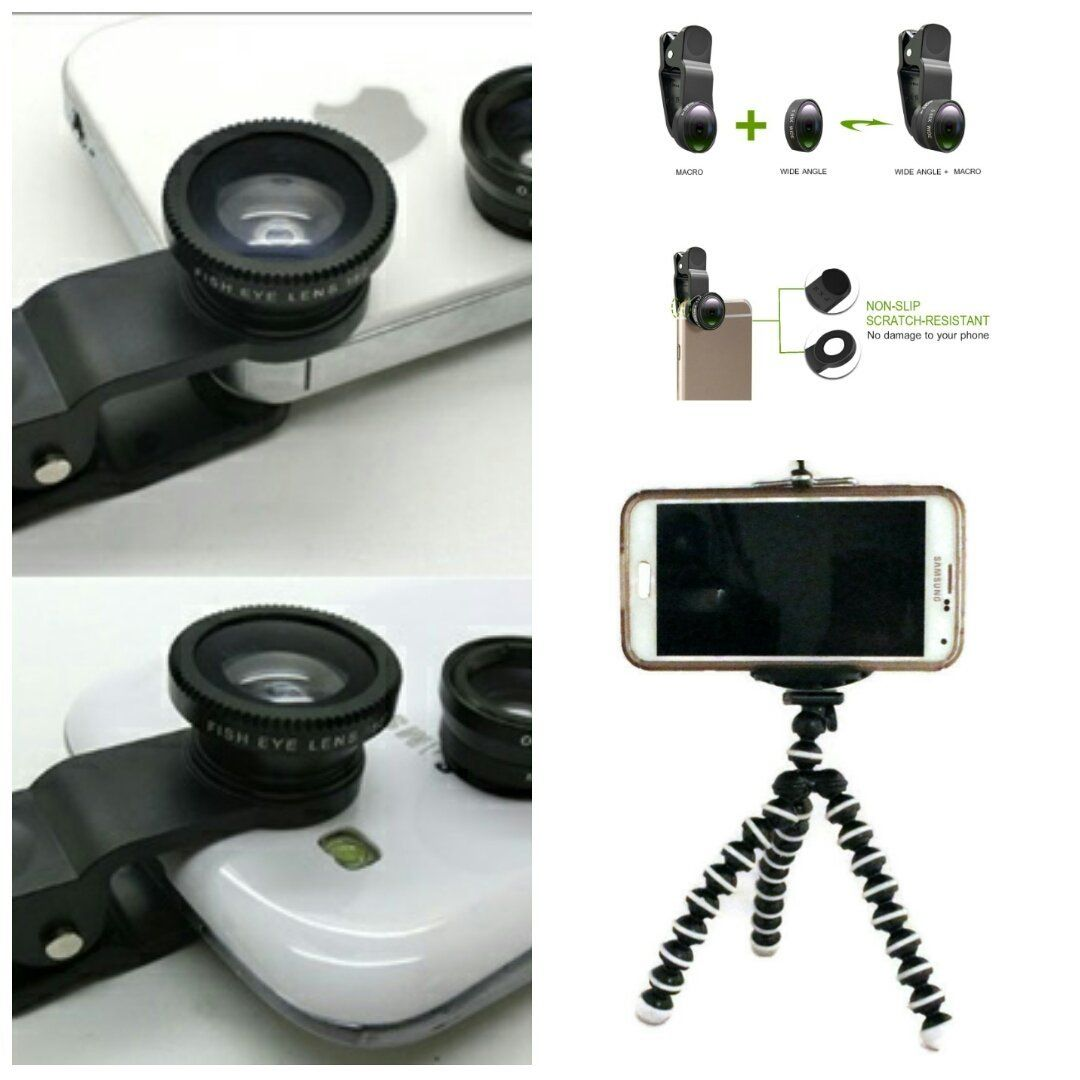 Amazon.com: Arbitron Global lenskit27 Photo Lens Kit, Includes Tripod, Phone Clip and 3 Photo Lens(Fish Eye, Macro and Wide Angle Combo), Works with iPhone, iPad, Samsung, HTC and Other Smartphones: Camera & Photo