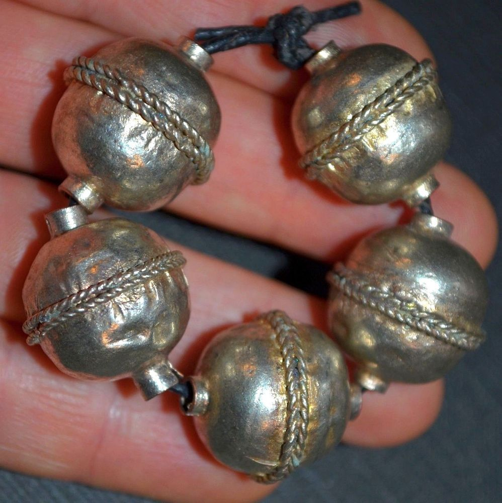 Arte Bella Surplus Ethiopian Ethnic Silver Color Metal Round Hollow Dome Tribal Beads