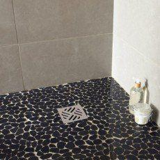 carrelage inox sol douche mosaique salle de bain galet japonais