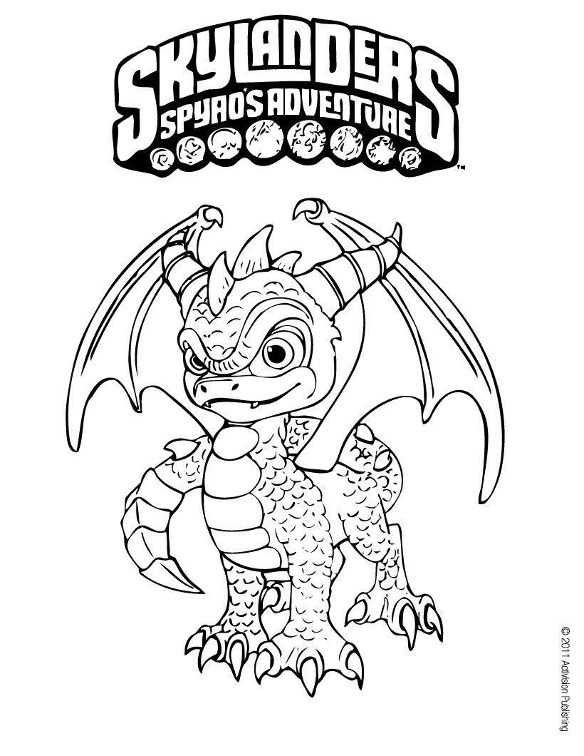 Spyro coloring page. More Skylanders coloring sheets on