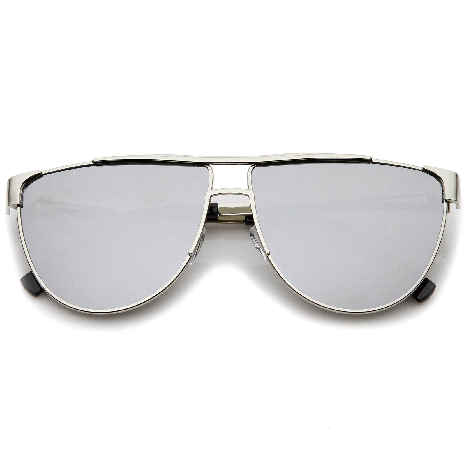 Modern Flat Top Colored Mirror Flat Lens Aviator Sunglasses 63Mm