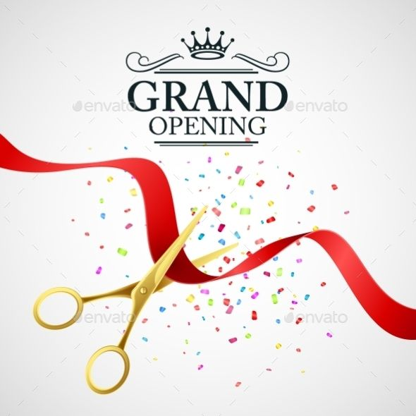 Grand Opening Illustration With Red Ribbon Grand Opening Creative Posters Red Ribbon