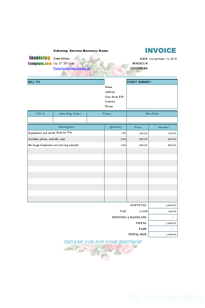 Invoicing Template For Catering And Wedding Service
