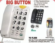 BIG BUTTON CORDED PHONE W/ SPEED DIAL PLUS 10 - NUMBER MEMORY  BLACK ONLY