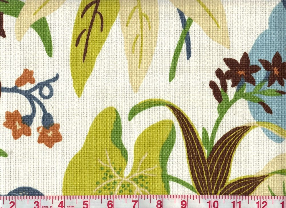 Beautiful Cotton Floral Braemore Drapery Upholstery Fabric Fabriano Sea Breeze #Braemore