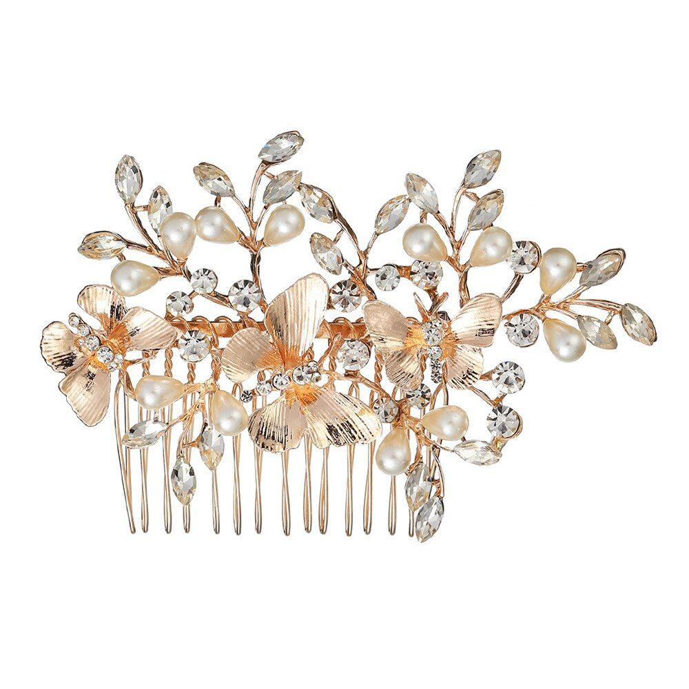 Lady Beautiful Butterfly pearl inlay hair accessories Wedding Party Artificial Pearl Flower Crown Headband Rhinestones Headdress #crownheadband