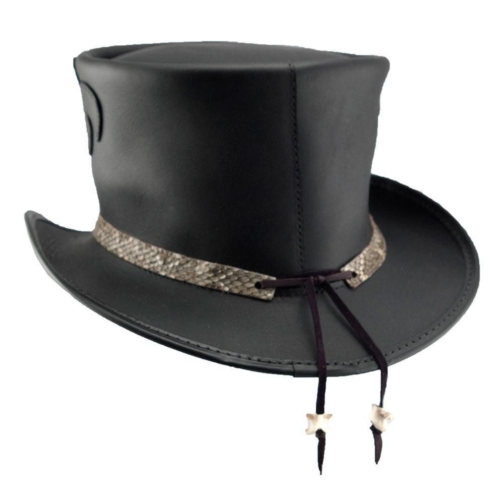 7ba4e1c07eb6 The detail on the Rio Topper is like no other hat our Voodoo Hatter  collection. Made of rich black leather this hat is accented with an  intricate applique ...
