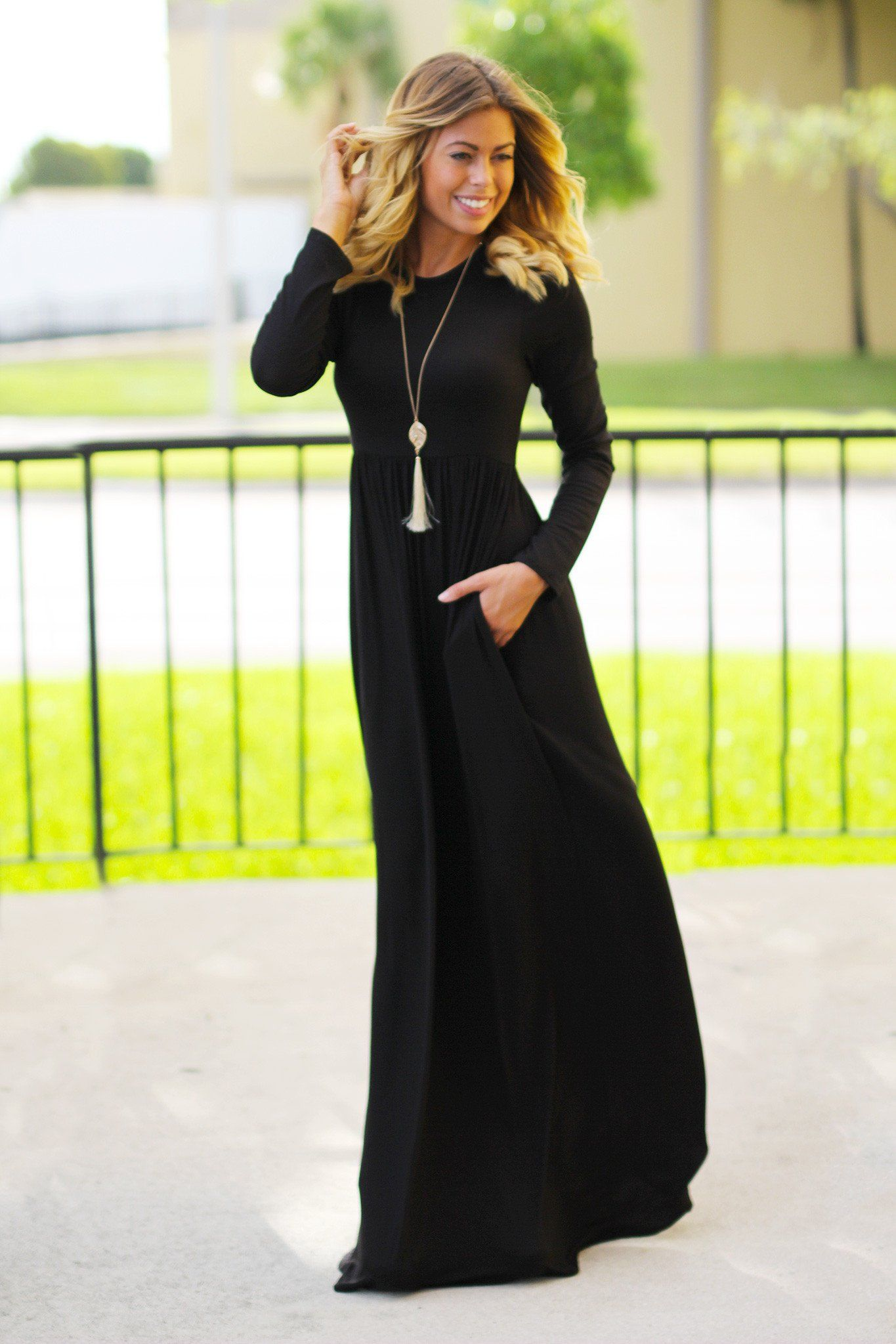 Long Sleeve Black Maxi Dress with Pockets  aa025ecc1