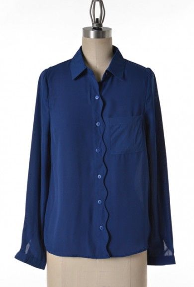 Scallops https://sincerelysweetboutique.com/shop-collections/sweet-scallops.html - #scallop #sweet-scallops #scallops - Blouse - Lunch Meeting Scallop Trim Long Sleeve Blouse in Navy