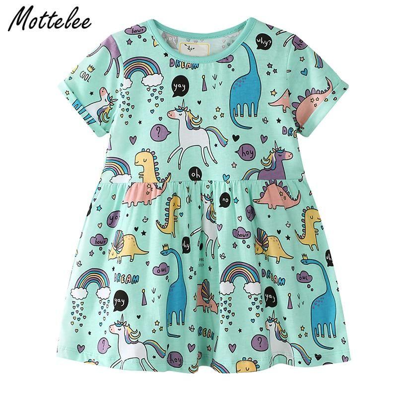 1829391cdb43d Mottelee Girls Dress Cartoon Unicorn Summer Kids Dresses Baby Girl ...