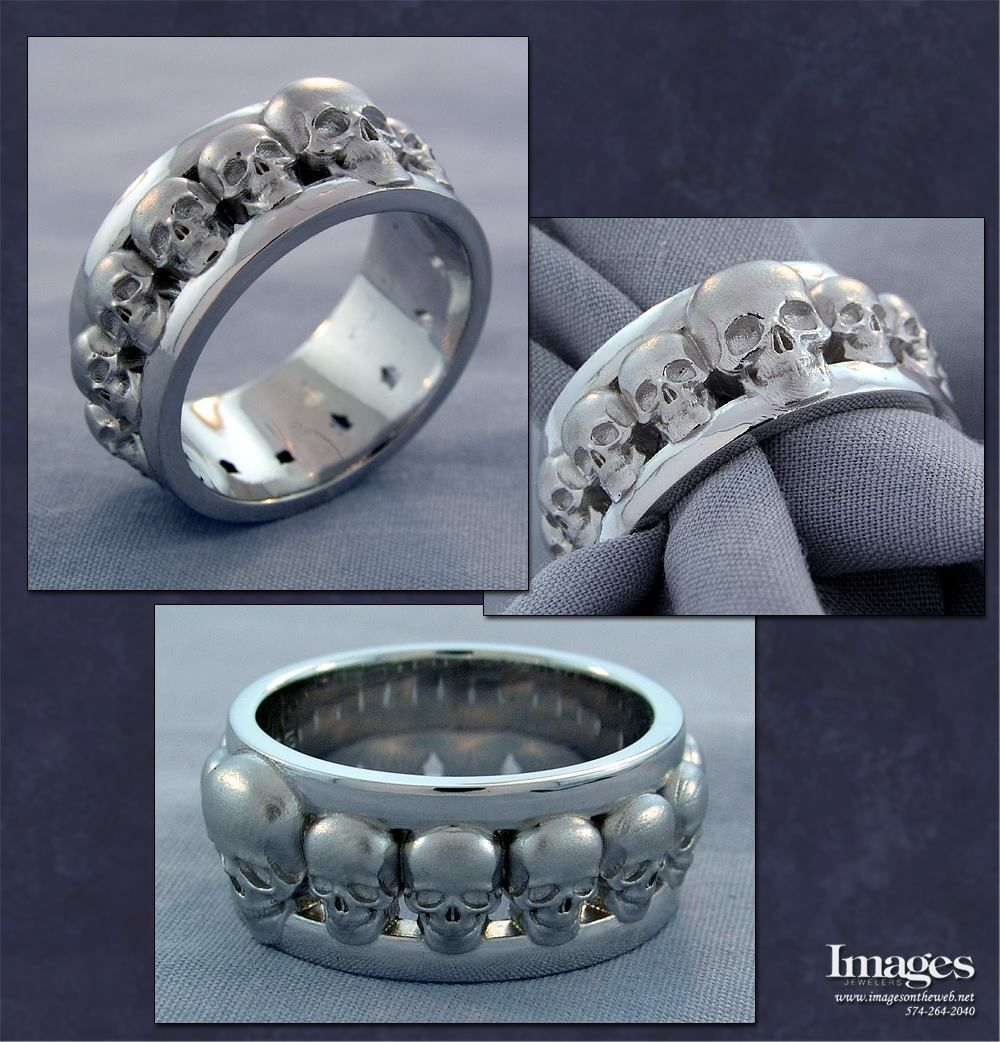 Mens Skull Wedding Band in Sterling Silver imagesjewelers